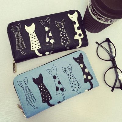 Cats Long Wallet / Cartera Dama Korean Style