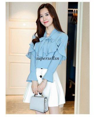 Women Ruffle Butterfly Shirt / Camisa Dama Korean Style