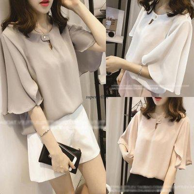 Women Chiffon Flare Sleeve/ Camisa Dama Korean Style