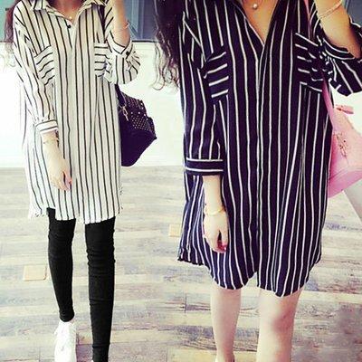 Striped Long Shirt / Camisa Dama Korean Style