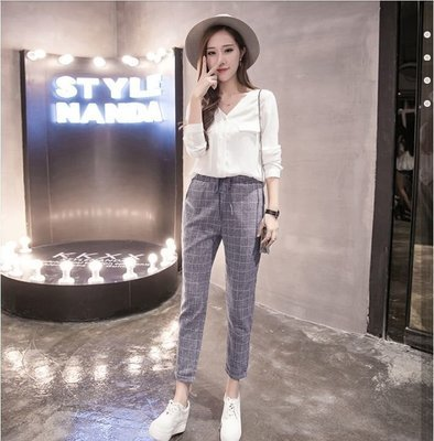 Haren Plaid Pants / Pantalon Dama Korean Style