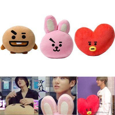 KPOP BTS BT21 TATA SHOOKY RJ SUGA COOKY JIMIN Bed Plush Pillow Doll Cushion