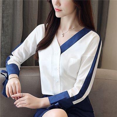 Women Long Sleeve Strip / Camisa Dama Korean Style
