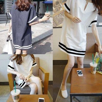 Loose Casual V Neck Short Sleeve   / Vestido Dama Korean Style