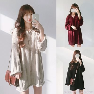 Casual Knitted Sweater Plus / Sweater Dama Korean Style