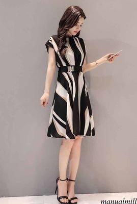Line High Waist Stripe  /  vestido Dama Korean Style