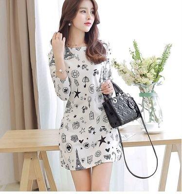 Cartoon Printed Slim Spring Dress /  vestido Dama Korean Style