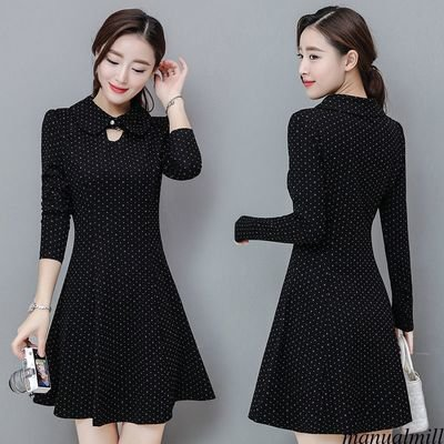 Chic Long Sleeve A Line Slim Polka /  vestido Dama Korean Style