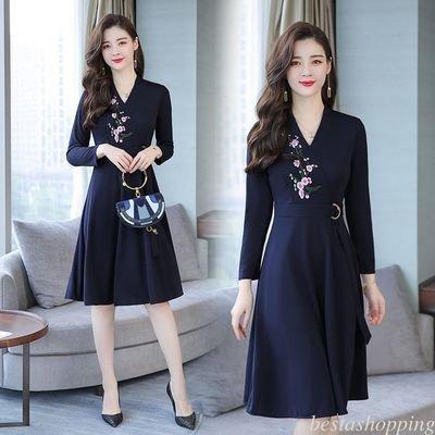 V Neck Long Sleeve Embroiderey Belt /  vestido Dama Korean Style