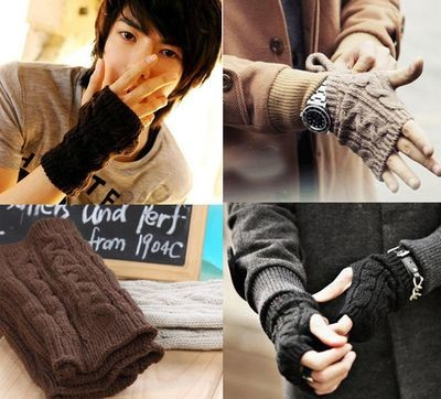 Handsome Men's Unique Winter Fingerless Cool Short Warm Gloves Mittens 5 Colors