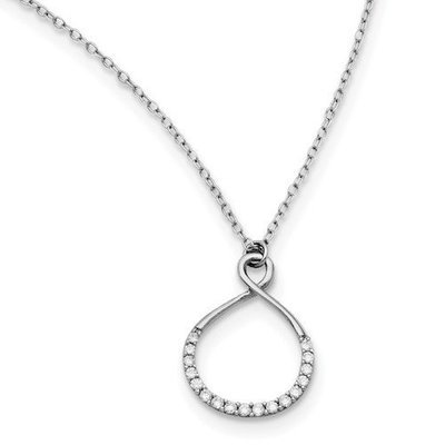 Sterling Silver Rhodium-Plated With CZ Infinity