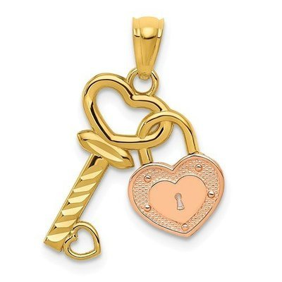 14k Two-Tone Heart Lock And Key Pendant
