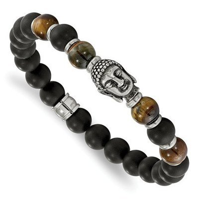 Stainless Steel Buddha Black Agate Tiger Eye Beaded Stretch Bracelet