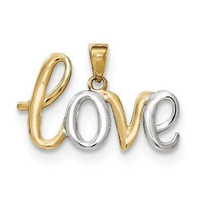 14k And Rhodium LOVE Pendant