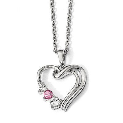 Sterling Silver Survivor Clear/Pink Swarovski Topaz Heart Of Healing Necklace