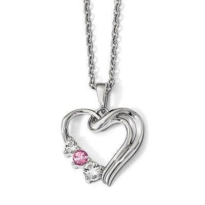 10k Survivor Clear/Pink Swarovski Topaz Heart Of Healing Necklace