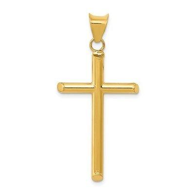 14k 3-D Polished Hollow Cross Pendant