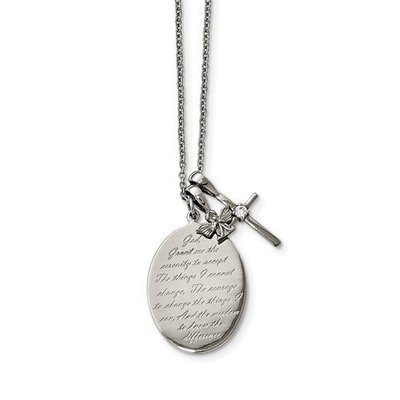 Stainless Steel Polished Serenity/French Prayer CZ Cross 2in Ext. Necklace