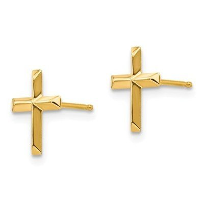 14k Madi K Polished Cross Post Earrings