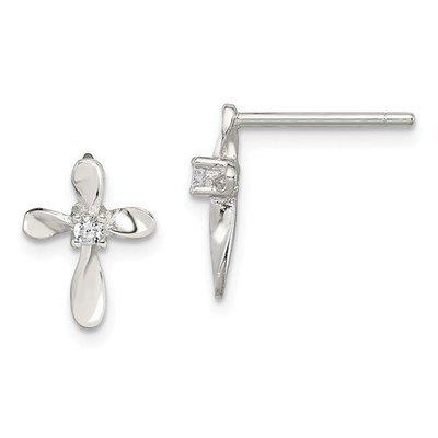 Sterling Silver CZ Cross Post Earrings