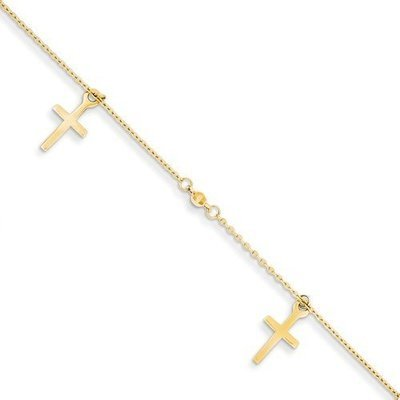 14k Polished And Textured Cross With 1in Ext. Anklet