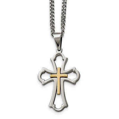 Stainless Steel Yellow IP-Plated Cross Brushed/Polished Necklace
