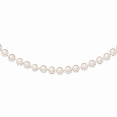 14k 6-7mm Round White Saltwater Akoya Cultured Pearl Necklace