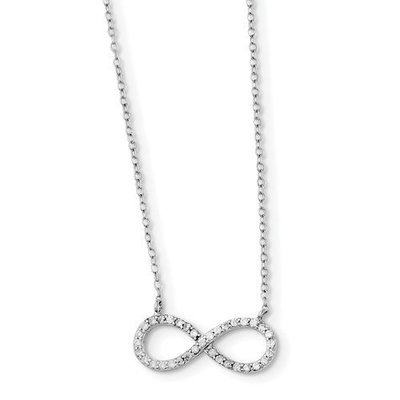 Sterling Silver Rhodium-Plated With CZ Infinity Necklace