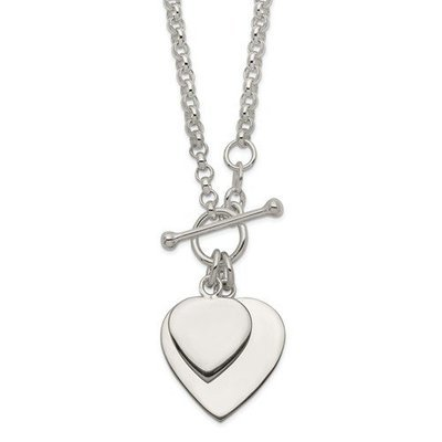Sterling Silver Double Heart Toggle Necklace