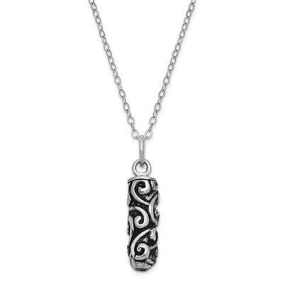 Sterling Silver Antiqued Cylinder Remembrance Ash Holder 18in Necklace