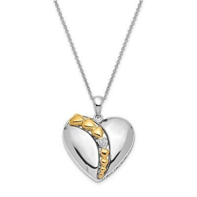 Sterling Silver And Gold-Plated CZ I Love You More Each Day Necklace