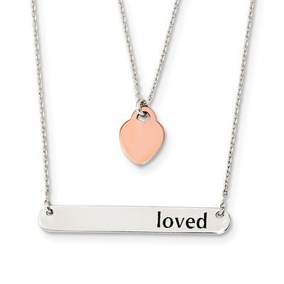 Sterling Silver Rose-Tone Heart And Enameled Loved 18in Bar Necklace