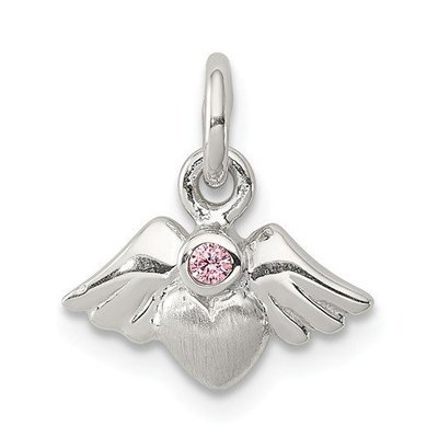 Sterling Silver Polished And Satin Heart With Angel Wings Pink CZ Pendant