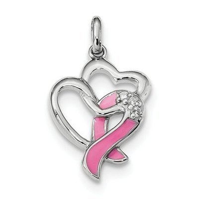 Sterling Silver Rhodium-Plated Enamel CZ Ribbon Heart Pendant