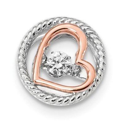 Sterling Silver Rose-Tone Vibrant Swar Zircon Heart Chain Slide