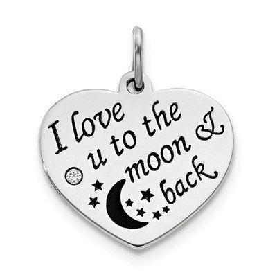 Sterling Silver Polish/Enamel Swarovski Zirconia To The Moon Pendant