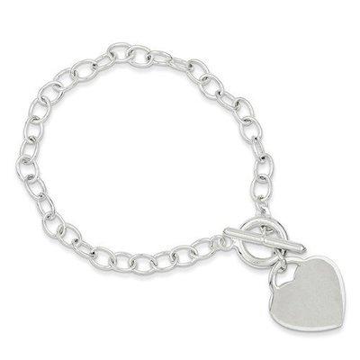 Sterling Silver Oval Link Heart Bracelet