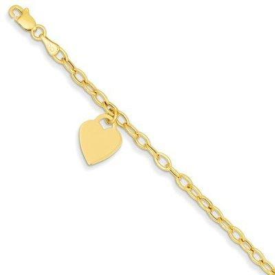 14k Dangle Heart Bracelet