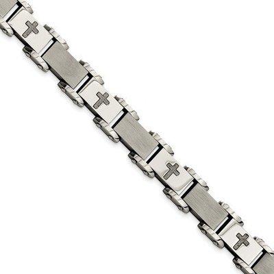 Stainless Steel Laser Cut Crosses 8.75in Bracelet