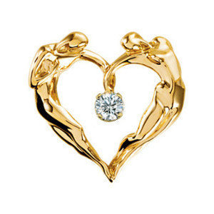 14K Yellow Gold Heart/Gem Necklace