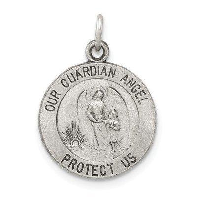 Sterling Silver Antiqued Guardian Angel Medal