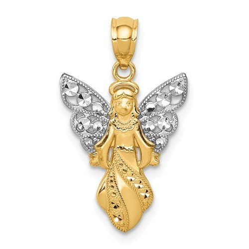 14k With Rhodium Polished And Textured Angel Pendant