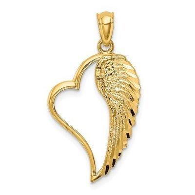 14k Angel Wing In Heart Pendant