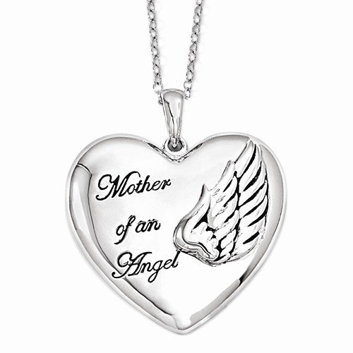 Sterling Silver Mother Of An Angel 18in. Necklace