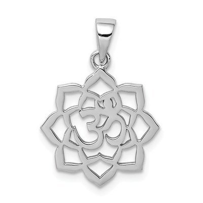 Sterling Silver Rhodium-Plated Lotus With Om Center Pendant
