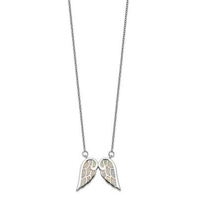 Sterling Silver Rhodium-Plated Created Opal Wing With 1.5in Ext. Necklace