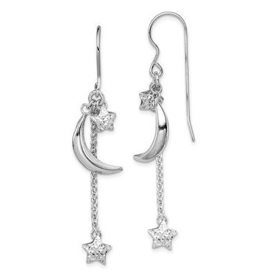 Sterling Silver Diamond Cut Puff Stars And Moons Earrings