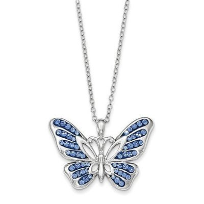 Sterling Silver Swarovski Crystal Never Give Up Butterfly 18in Necklace