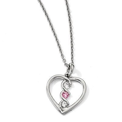 10kw Clear And Pink Swarovski Topaz Heart Of Inspiration Necklace