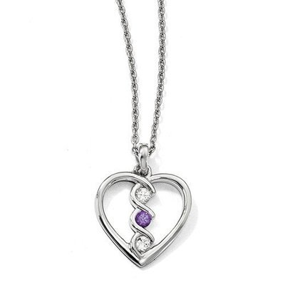 10kw Clear And Purple Swarovski Topaz Heart Of Inspiration With 2in Ext Necklace